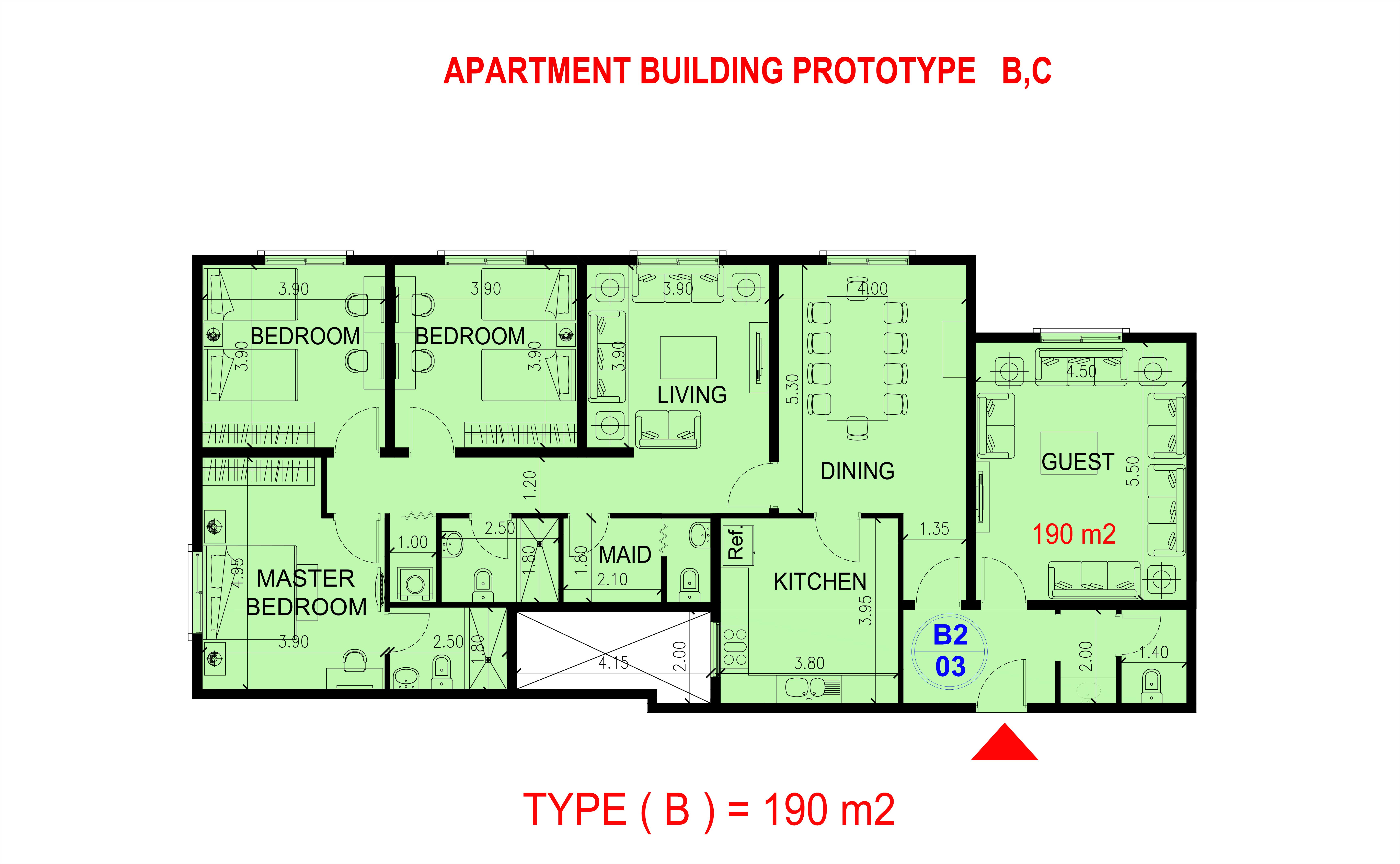 شقة من ثلاث غرف نوم