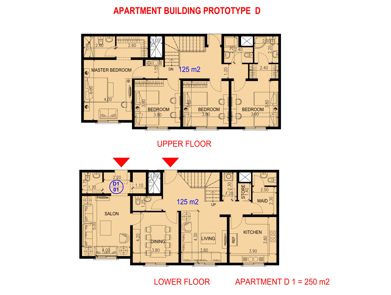 شقة دوبلكس من أربع غرف نوم
